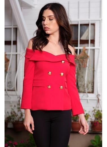 İroni Kayık Yaka Blazer Ceket Kırmızı